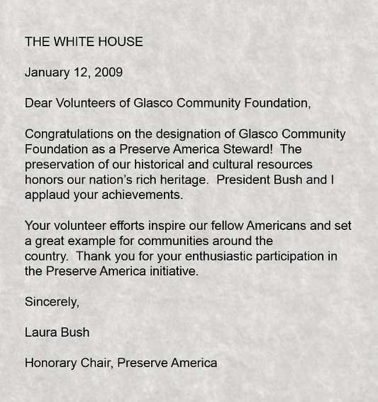 A Letter or recognition from Laura Bush